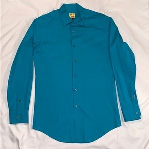 Teal Button Down Slim Fit Dress Shirt